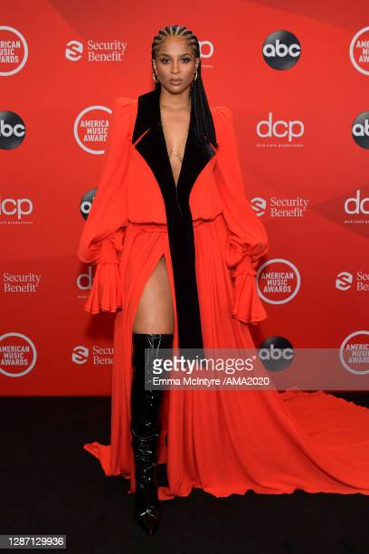 In this image released on November 22, Ciara attends the 2020 American Music Awards at Microsoft Theater on November 22, 2020 in Los Angeles,...