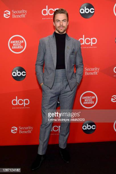 In this image released on November 22, Derek Hough attends the 2020 American Music Awards at Microsoft Theater on November 22, 2020 in Los Angeles,...