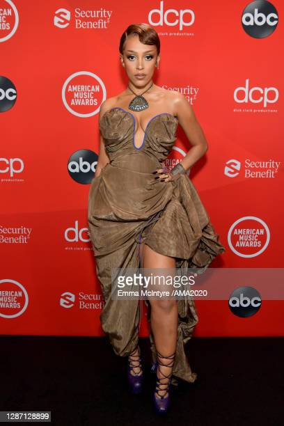 In this image released on November 22, Doja Cat attends the 2020 American Music Awards at Microsoft Theater on November 22, 2020 in Los Angeles,...