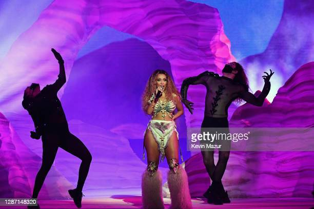 In this image released on November 22 Doja Cat performs onstage for the 2020 American Music Awards at Microsoft Theater on November 22 2020 in Los...