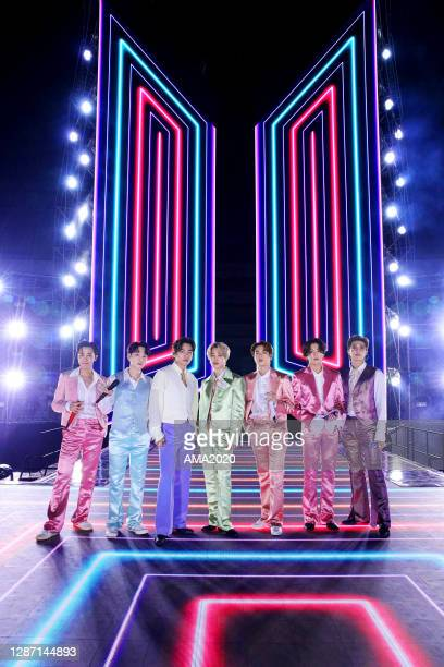 In this image released on November 22, J-Hope, Suga, V, Jimin, Jin, Jungkook, RM of BTS perform onstage for the 2020 American Music Awards on...