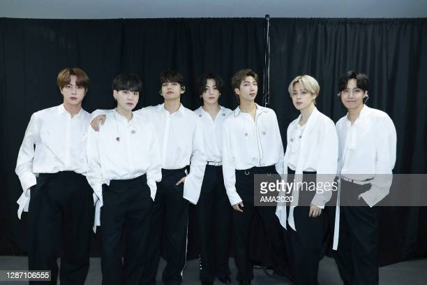 In this image released on November 22, Jin, Suga, V, Jungkook, RM, Jimin, and J-Hope of BTS attend the 2020 American Music Awards on November 22,...