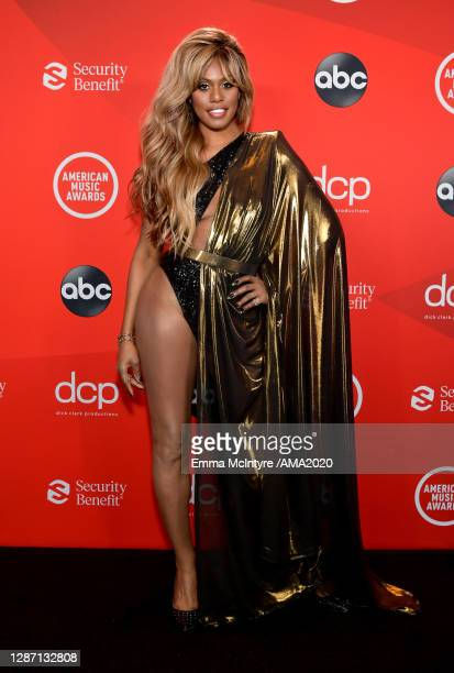 In this image released on November 22, Laverne Cox attends the 2020 American Music Awards at Microsoft Theater on November 22, 2020 in Los Angeles,...