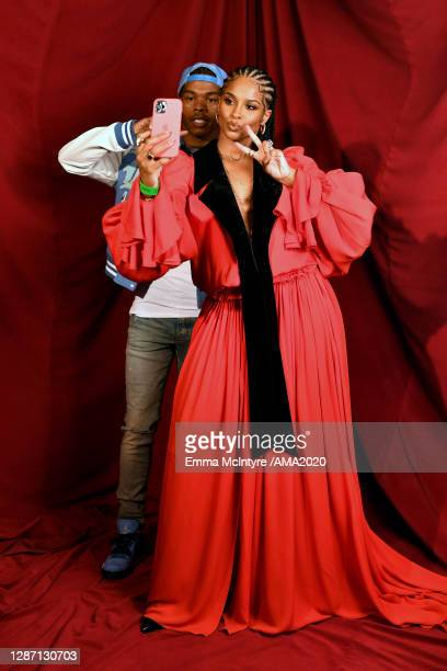 In this image released on November 22, Lil Baby and Ciara attend the 2020 American Music Awards at Microsoft Theater on November 22, 2020 in Los...