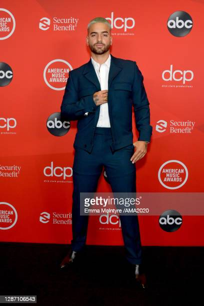 In this image released on November 22, Maluma attends the 2020 American Music Awards at Microsoft Theater on November 22, 2020 in Los Angeles,...