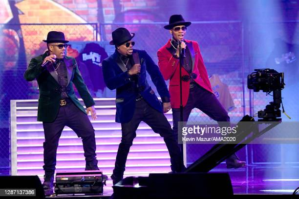 In this image released on November 22, Michael Bivins, Ricky Bell, Ronnie DeVoe of Bell Biv DeVoe perform onstage for the 2020 American Music Awards...