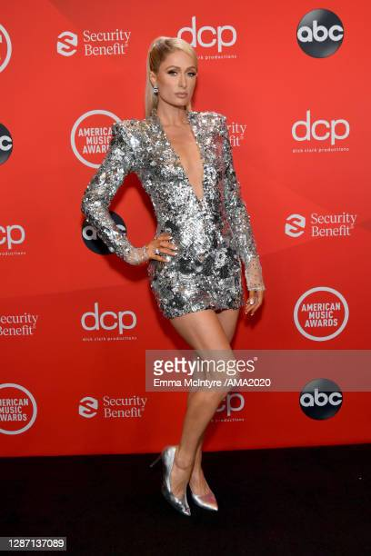 In this image released on November 22, Paris Hilton attends the 2020 American Music Awards at Microsoft Theater on November 22, 2020 in Los Angeles,...