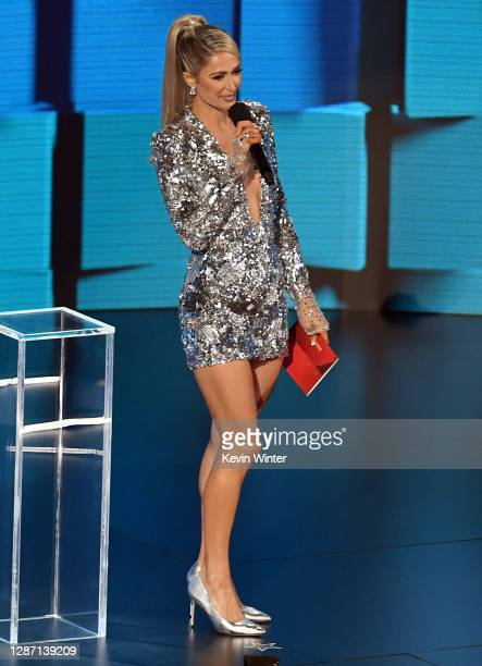 In this image released on November 22, Paris Hilton speaks onstage for the 2020 American Music Awards at Microsoft Theater on November 22, 2020 in...