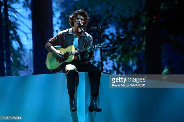 In this image released on November 22, Shawn Mendes performs onstage for the 2020 American Music Awards at Microsoft Theater on November 22, 2020 in...