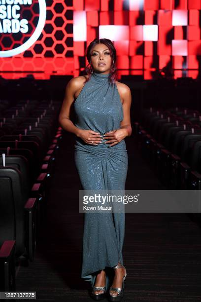 In this image released on November 22, Taraji P. Henson poses onstage for the 2020 American Music Awards at Microsoft Theater on November 22, 2020 in...