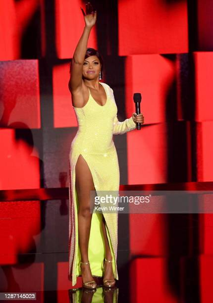 In this image released on November 22, Taraji P. Henson speaks onstage for the 2020 American Music Awards at Microsoft Theater on November 22, 2020...