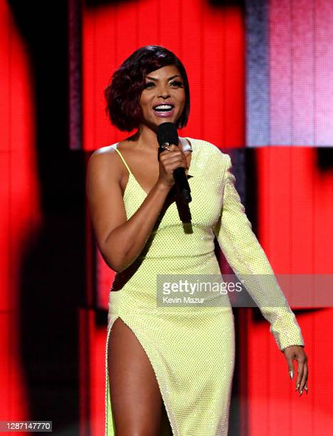 In this image released on November 22 Taraji P Henson speaks onstage for the 2020 American Music Awards at Microsoft Theater on November 22 2020 in...