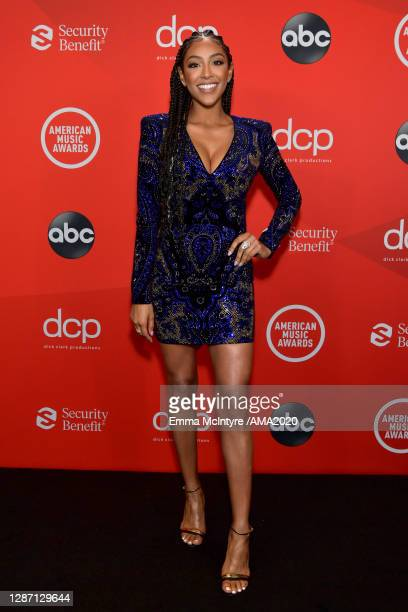 In this image released on November 22, Tayshia Adams attends the 2020 American Music Awards at Microsoft Theater on November 22, 2020 in Los Angeles,...