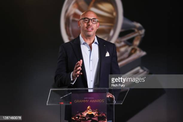 In this image released on November 24th, Interim President of The Recording Academy Harvey Mason Jr. Speaks during the 63rd Annual GRAMMY Awards...