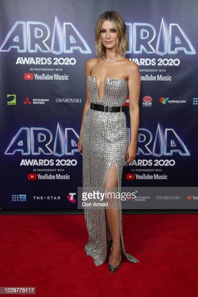 In this image released on November 25, Delta Goodrem attends the 2020 ARIA Awards at The Star on November 24, 2020 in Sydney, Australia.