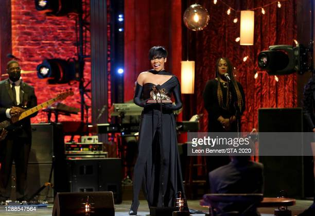 In this image released on November 29th, Monica attends the 2020 Soul Train Awards presented by BET.