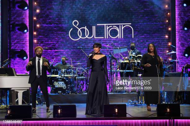 In this image released on November 29th, Monica performs during the 2020 Soul Train Awards presented by BET.
