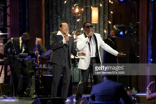 In this image released on November 29th, Smokey Robinson and Charlie Wilson perform during the 2020 Soul Train Awards presented by BET.