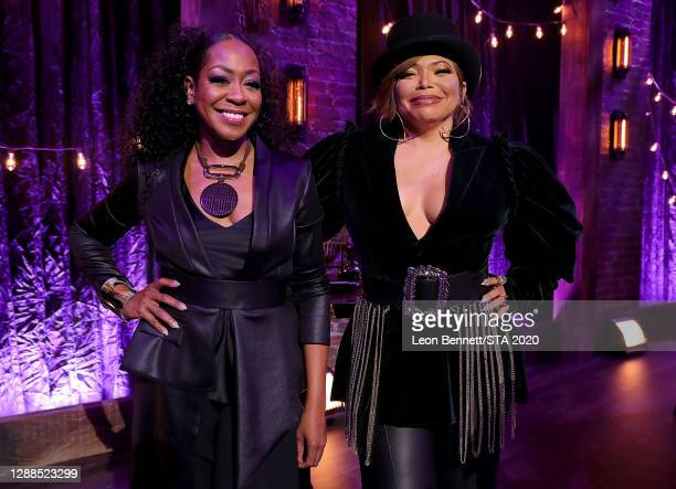 In this image released on November 29th, Tichina Arnold and Tisha Campbell attend the 2020 Soul Train Awards presented by BET.