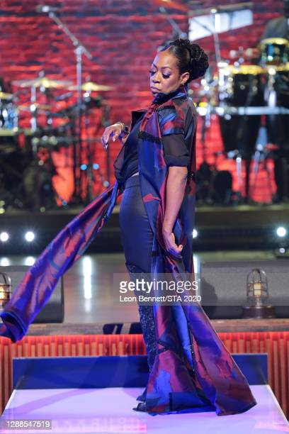 In this image released on November 29th, Tichina Arnold performs during the 2020 Soul Train Awards presented by BET.