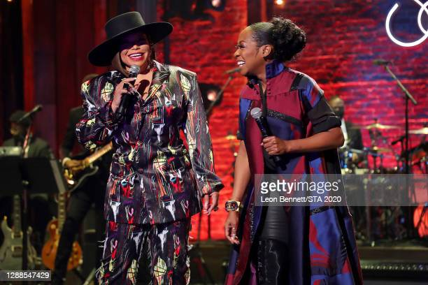 In this image released on November 29th, Tisha Campbell and Tichina Arnold perform during the 2020 Soul Train Awards presented by BET.