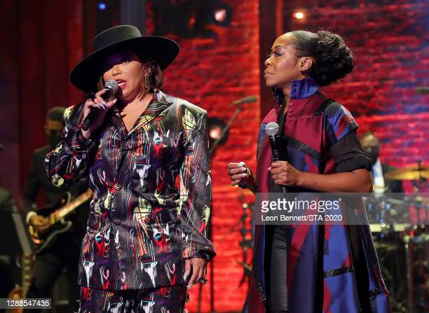 In this image released on November 29th, Tisha Campbell and Tichina Arnold speaks during the 2020 Soul Train Awards presented by BET.