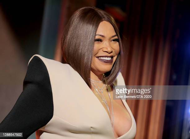 In this image released on November 29th, Tisha Campbell performs during the 2020 Soul Train Awards presented by BET.