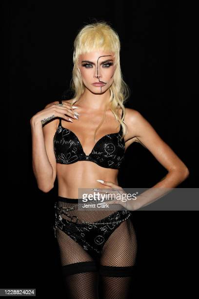 In this image released on October 1, Cara Delevingne is seen backstage during Rihanna's Savage X Fenty Show Vol. 2 presented by Amazon Prime Video at...
