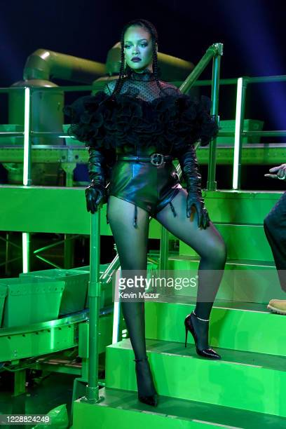 In this image released on October 1, Rihanna is seen onstage during Rihanna's Savage X Fenty Show Vol. 2 presented by Amazon Prime Video at the Los...