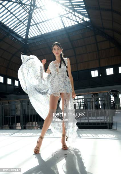 In this image released on October 13, A model backstage ahead of the Nedo by Nedret Taciroglu show during Mercedes-Benz Istanbul Fashion Week at...