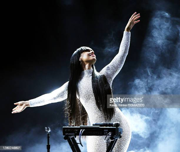 In this image released on October 14, Alicia Keys performs onstage at the 2020 Billboard Music Awards, broadcast on October 14, 2020 at the Dolby...
