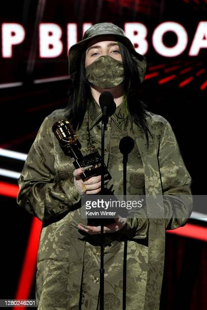 In this image released on October 14, Billie Eilish accepts the Top Billboard 200 Album Award onstage at the 2020 Billboard Music Awards, broadcast...