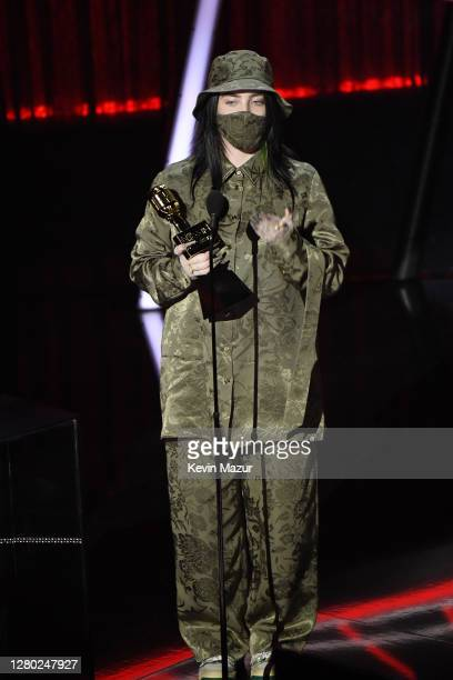 In this image released on October 14 Billie Eilish accepts the Top Billboard 200 Album Award onstage at the 2020 Billboard Music Awards broadcast on...