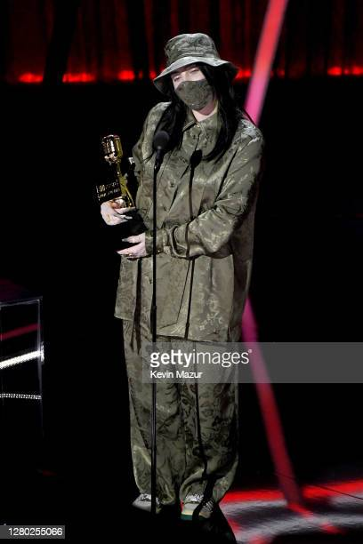 In this image released on October 14 Billie Eilish accepts the Top Female Artist Award onstage at the 2020 Billboard Music Awards broadcast on...