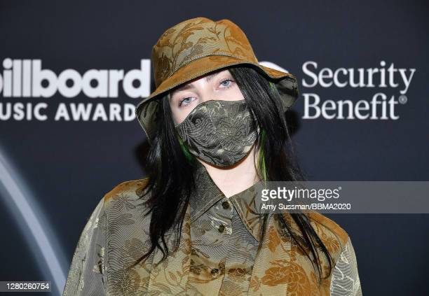 In this image released on October 14 Billie Eilish poses backstage at the 2020 Billboard Music Awards broadcast on October 14 2020 at the Dolby...