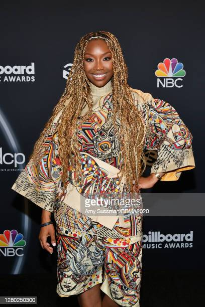 In this image released on October 14, Brandy poses backstage at the 2020 Billboard Music Awards, broadcast on October 14, 2020 at the Dolby Theatre...