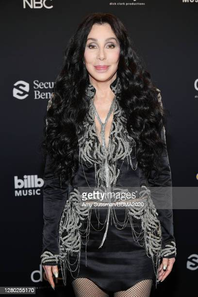 In this image released on October 14, Cher poses backstage at the 2020 Billboard Music Awards, broadcast on October 14, 2020 at the Dolby Theatre in...