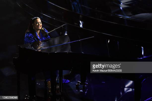 In this image released on October 14, Demi Lovato performs onstage at the 2020 Billboard Music Awards, broadcast on October 14, 2020 at the Dolby...