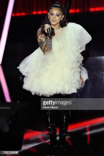 In this image released on October 14 Julia Michaels speaks onstage at the 2020 Billboard Music Awards broadcast on October 14 2020 at the Dolby...