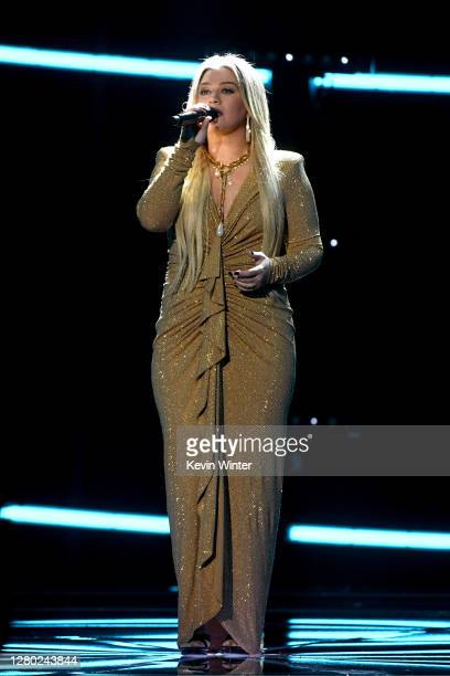 In this image released on October 14 Kelly Clarkson performs onstage at the 2020 Billboard Music Awards broadcast on October 14 2020 at the Dolby...