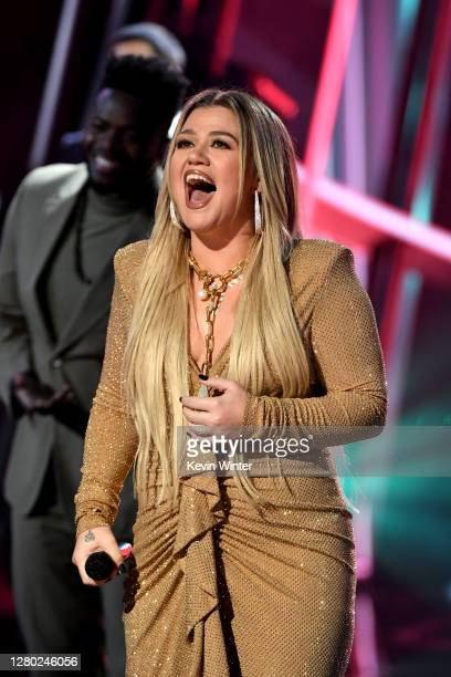 In this image released on October 14, Kelly Clarkson performs onstage at the 2020 Billboard Music Awards, broadcast on October 14, 2020 at the Dolby...
