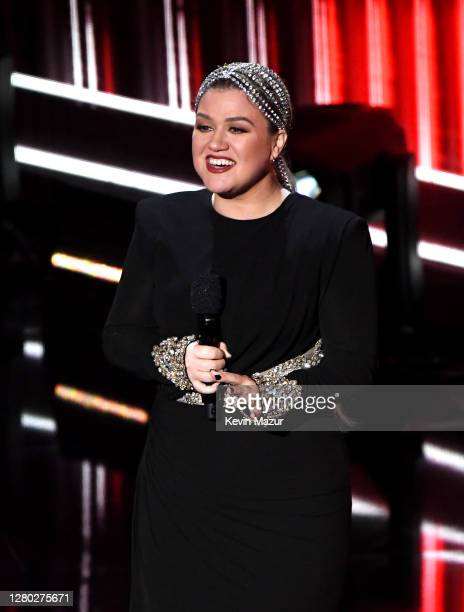 In this image released on October 14 Kelly Clarkson speaks onstage at the 2020 Billboard Music Awards broadcast on October 14 2020 at the Dolby...