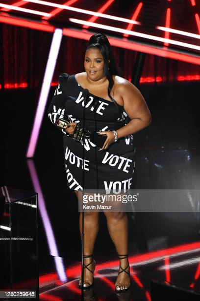 In this image released on October 14 Lizzo accepts the Top Song Sales Artist Award onstage at the 2020 Billboard Music Awards broadcast on October 14...