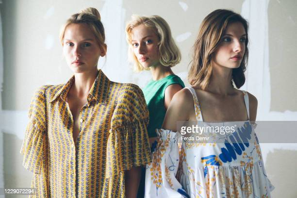 In this image released on October 14, Models pose backstage ahead of the Mehtap Elaidi show during Mercedes-Benz Istanbul Fashion Week at Galataport...