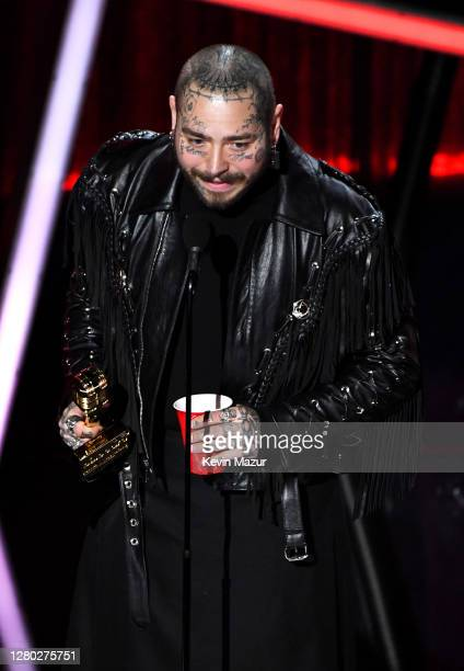 In this image released on October 14 Post Malone accepts the Top Artist Award onstage at the 2020 Billboard Music Awards broadcast on October 14 2020...