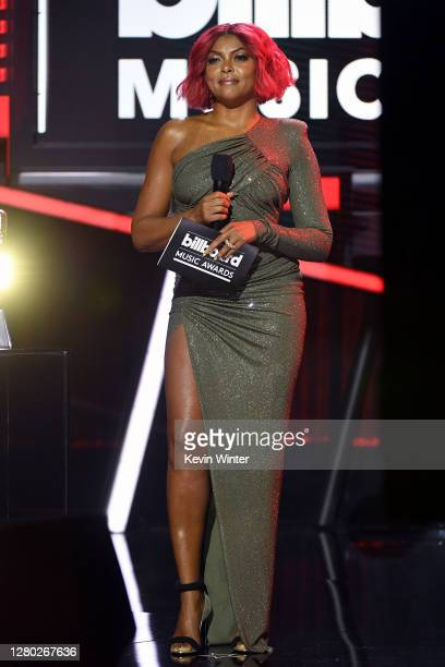 In this image released on October 14, Taraji P. Henson speaks onstage at the 2020 Billboard Music Awards, broadcast on October 14, 2020 at the Dolby...