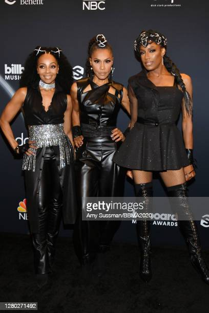 In this image released on October 14 Terry Ellis Cindy Herron and Rhona Bennett of En Vogue pose backstage at the 2020 Billboard Music Awards...