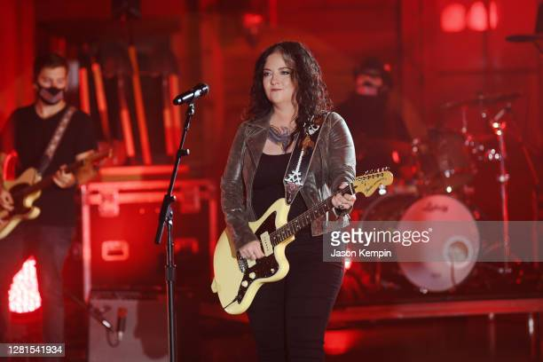 In this image released on October 21, Ashley McBryde performs onstage at the Sycamore Barn in Arrington, Tennessee for the 2020 CMT Awards broadcast...