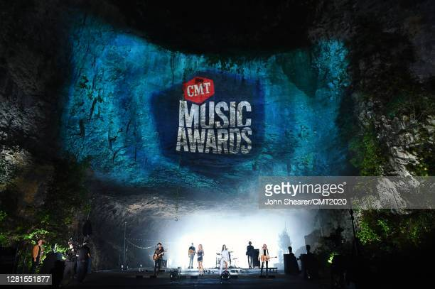 In this image released on October 21, Jimi Westbrook, Kimberly Schlapman, Karen Fairchild and Phillip Sweet of Little Big Town perform at Ruskin Cave...