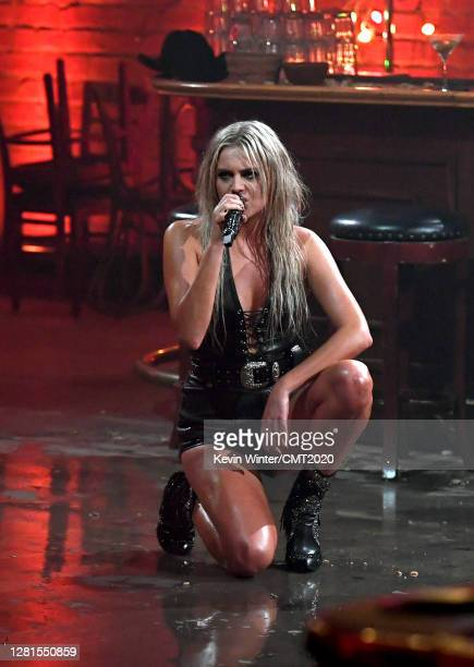 In this image released on October 21, Kelsea Ballerini performs onstage for the 2020 CMT Awards broadcast on Wednesday October 21, 2020.